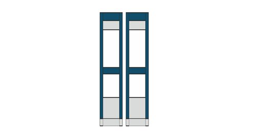 Inaca - Dynamic Canopy Awning - 2x Front Wall - Blue/Grey - 50 cm - S